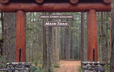 Trail sign entrance for YMCA Camp Collins