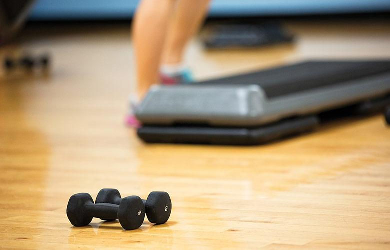 A set of dumbbells sit on the floor, waiting for use