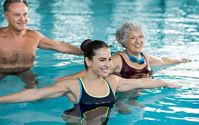 People participate in water exercise class